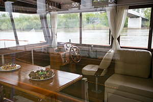 Interior decoration of the cabin of the river tram